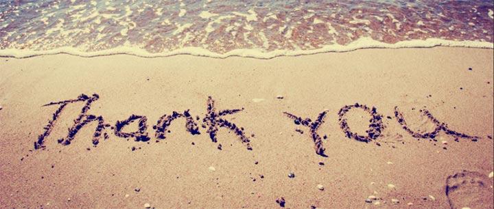 砂浜にかかれた感謝!
